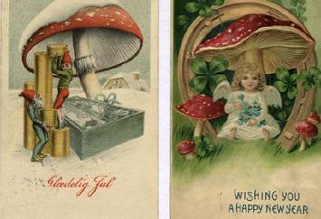 Fluesvamp på julekort