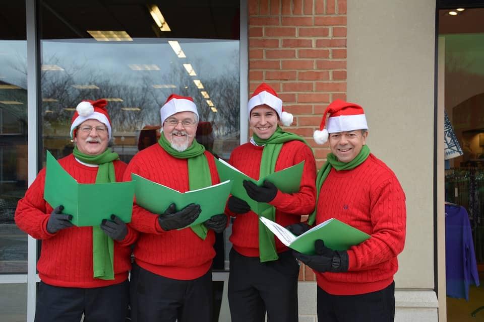 Mænd synger julesange og salmer